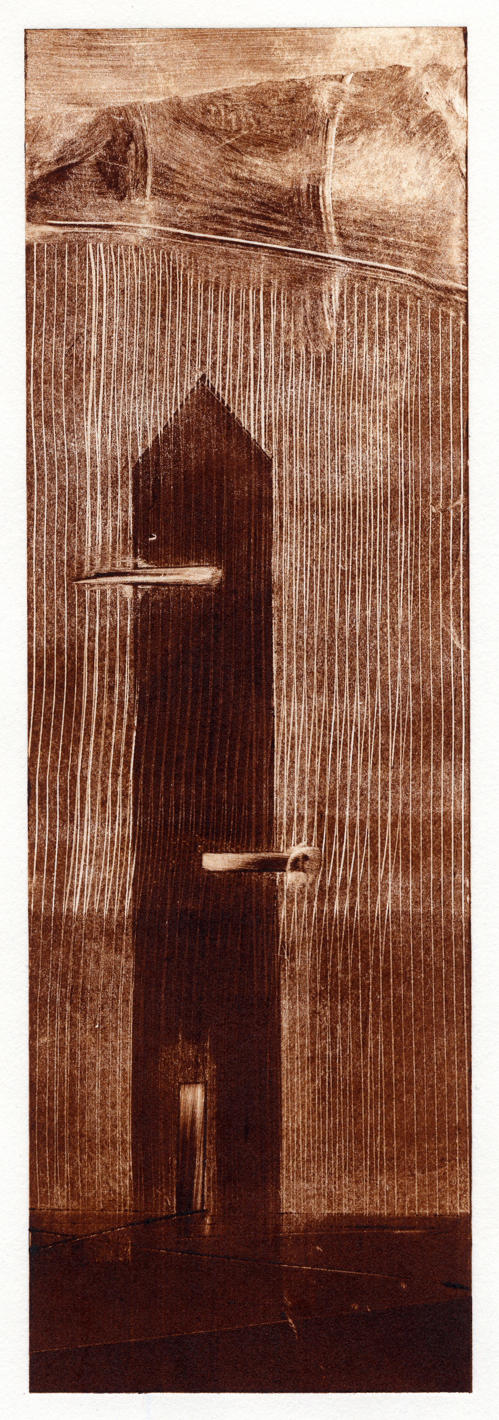 A monotype print in umber featuring a dwelling by Clive Knights