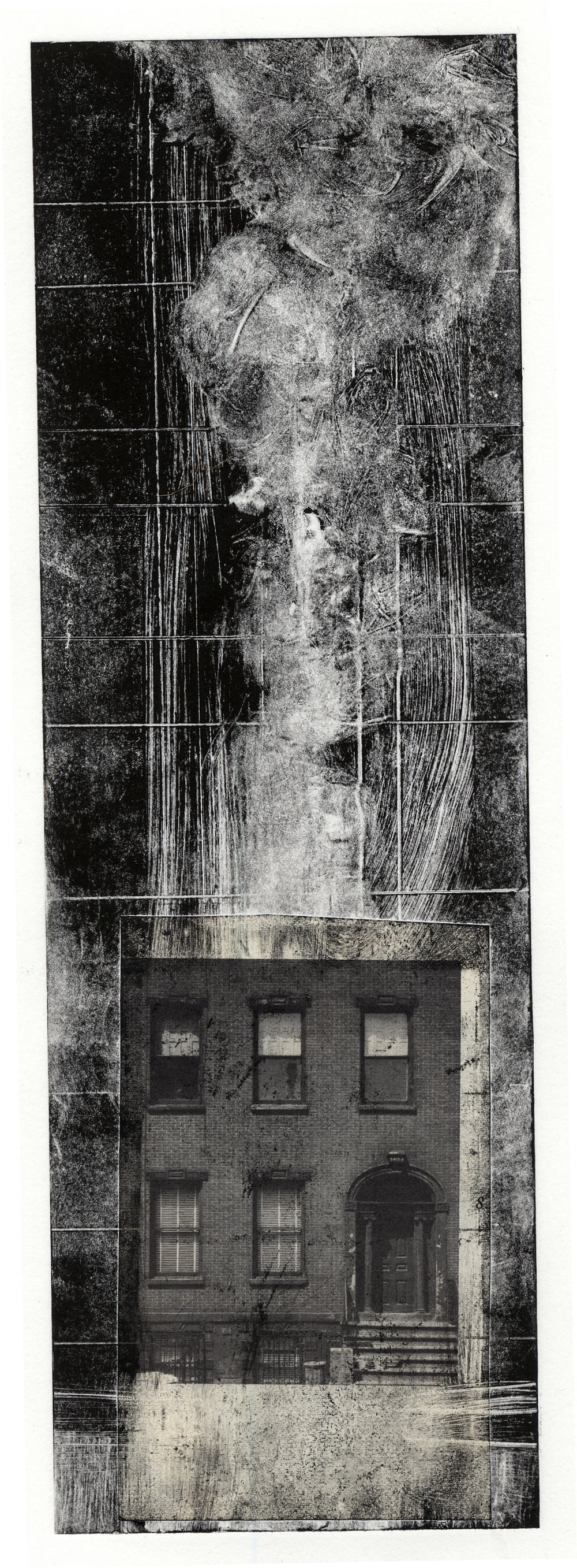 A monotype print with collage elements from Clive Knights' dwelling studies