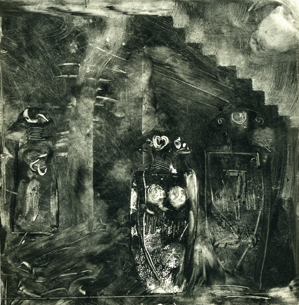 A monotype print by Clive Knights exploring the Statue-Stele of Linuigiana