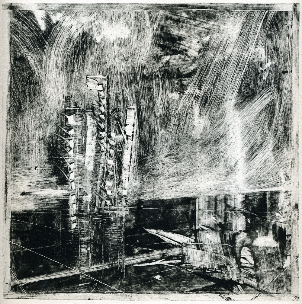 A monotype print by Clive Knights from his Lunigiana series