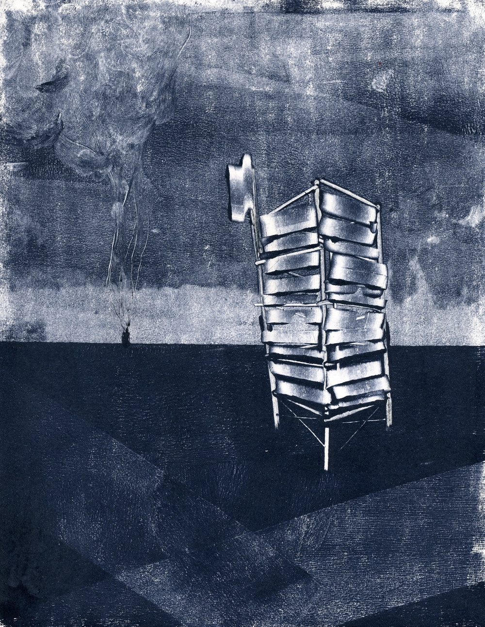 A monotype print by Clive Knights from his Tower series blue ink on paper