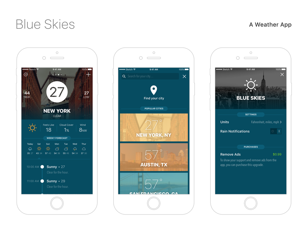 I view weather apps as one of the best playgrounds for developing user interfaces. The feature set is clear, and so the only way to differentiate is with design. There are hundreds of weather apps, and each of them embodies a different voice. With my design I wanted to try out a new style. I developed a clear visual language that I followed throughout to create a unique voice for the app.