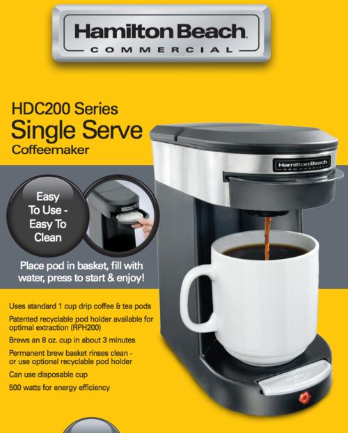 Hamilton Beach Single Serve Pods Hdc200b Five Star Strong Coffee