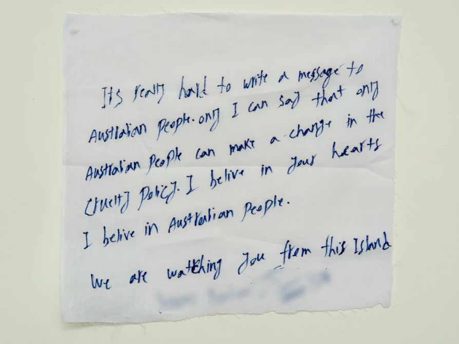 'I believe in your hearts. I believe in the Australian people': A handwritten note from a detainee on Manus Island. Photograph: David T Young/Penny Ryan