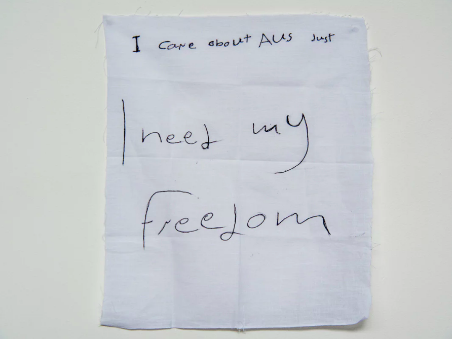 'I need my freedom': a message from  a detainee on Manus Island .  Photograph: David T Young/ Penny Ryan
