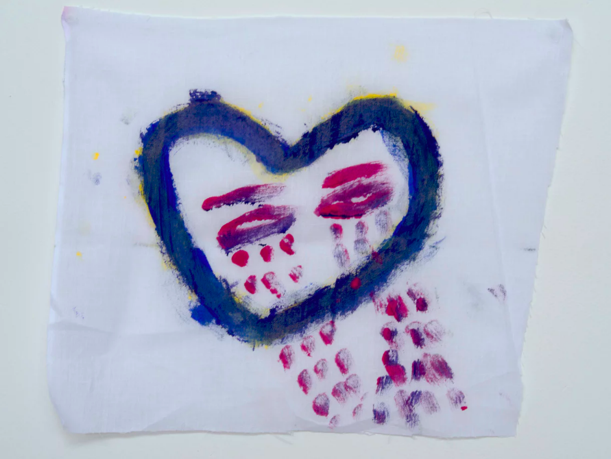 A weeping heart drawn by a detainee on Nauru. Photograph: David T Young/Penny Ryan