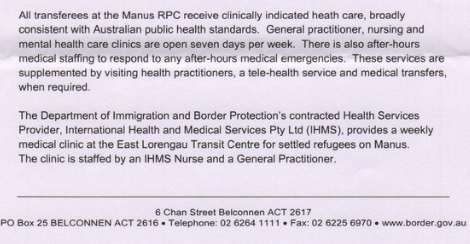 Excerpt from letter written to me by an employee of the Department of Immigration and Border Protection. The full letter is here.