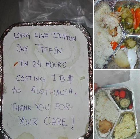"""This is a sample of the meals given to men in Manus. It costs Australian taxpayers nearly half a million dollars for each detained person each year. Or about $4,000 per person per day."" Lynne Murphy https://www.facebook.com/lynne.murphy.148/posts/10154501915596769?pnref=story"