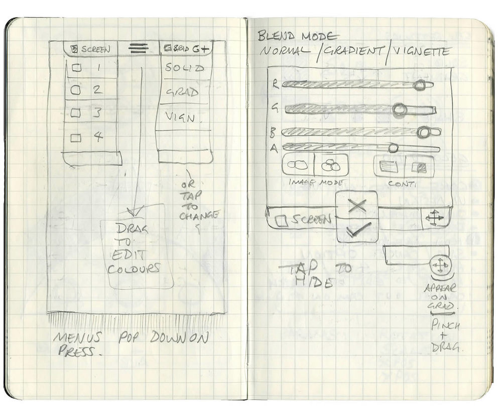 Early sketches of the UI for Geló