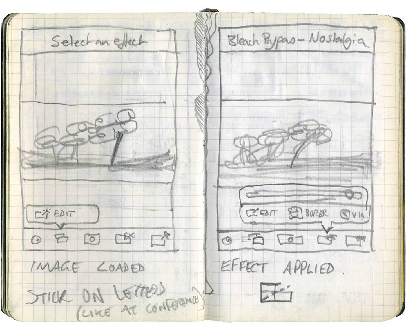 Early sketches of the Bleach Bypass UI
