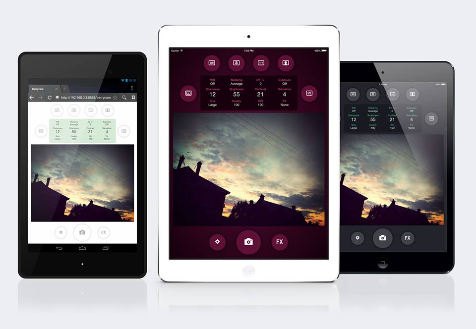 BerryCam with themes on iPad and Android