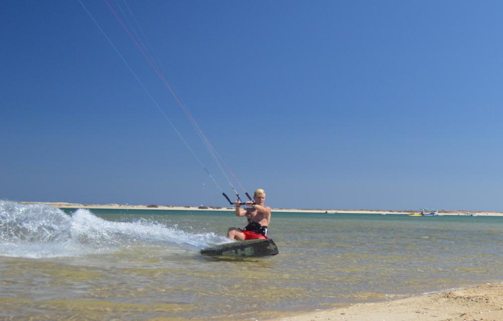 Kitesurfing -Fuseta Lagoon, Faro, Algarve, Portugal