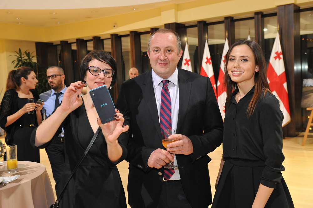 Julia Kockaja and Leila Ismailova with Mr. Giorgi Margvelashvili
