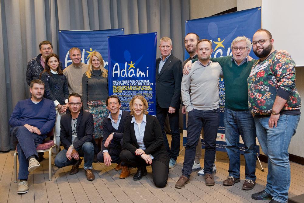 Back row, left to right : Leonid Melnic (TRM), Leila Ismailova, Stefan Tolz (ADAMI), Olga Davidovich (NTBY), Olaf Kische (MDR), Osman Pashayev (ATR), Oleksandr Zinchenko (NTU), Johannes Grotzky (ADAMI), Tigran Daniely (ARMTV);  Front row : Basa Janikashvili (GPB), Juri Rescheto (DW), Bruno Beeckman (EBU), Katrin Eigendorf (ZDF)
