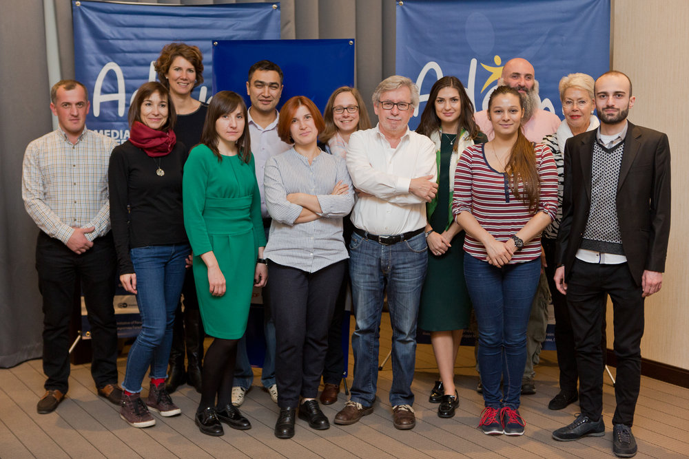 Back Row, left to right :   Giga Chkhartishvili (Adjara TV) ,  Carola Schneider (ORF), Barbara Boullion (ARTE), Abdujalil Abdurasulov (BBC), Silvia Stöber (tagesschau.de), Mihaela Cirnov (TRM), Beka Molashvili (GDS), Heidi Tagliavini (senior diplomat);  Front Row, left to right :   Nina Ponomariova (NTU), Mari Khokhlenko-Caltrider (ADAMI) ,  Johannes Grotzky (ADAMI) ,  Irada Aliyeva (ADAMI Country Representative in Azerbaijan), Akaki Shengelia (GPB)