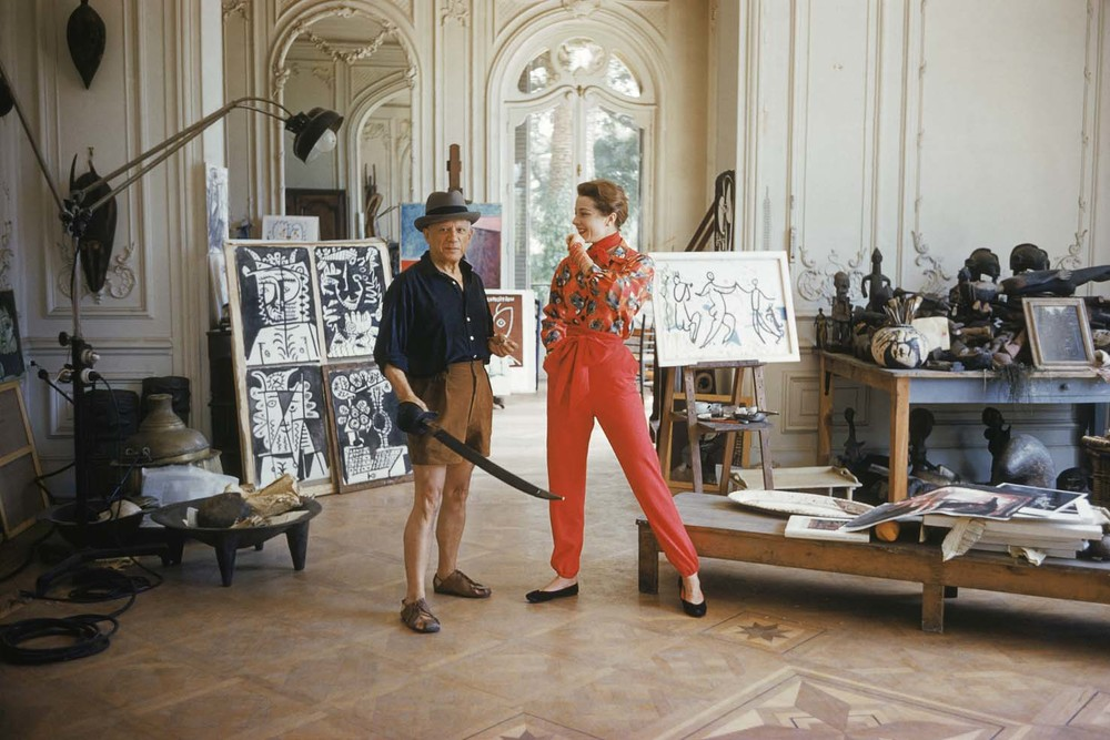 Pablo Picasso with French model Bettina Graziani in his Cannes Villa, La Californie, 1955.
