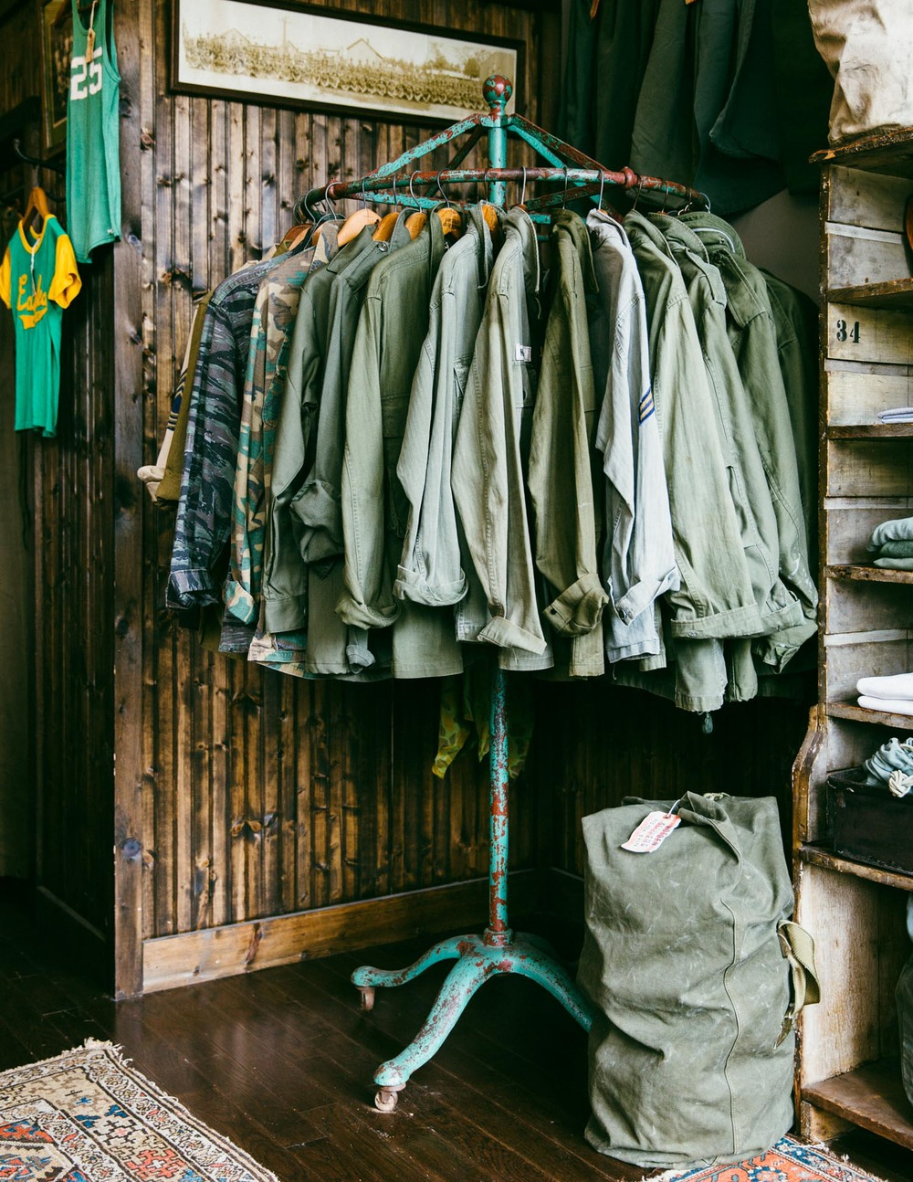 Vintage U.S. military M-65 jackets in every shade of green under the sun.