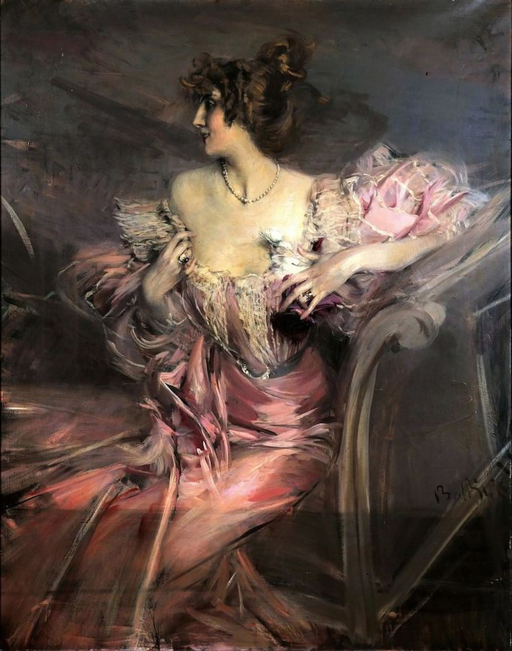 Giovanni Boldini oil on canvas portrait of Marthe de Florian that later fetched 3.4 million at auction (a record price for the 19th century Italian artist).
