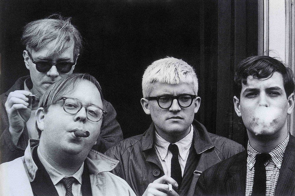 Andy Warhol, Henry Geldzahler, David Hockney, and Jeff Goodman (1963)