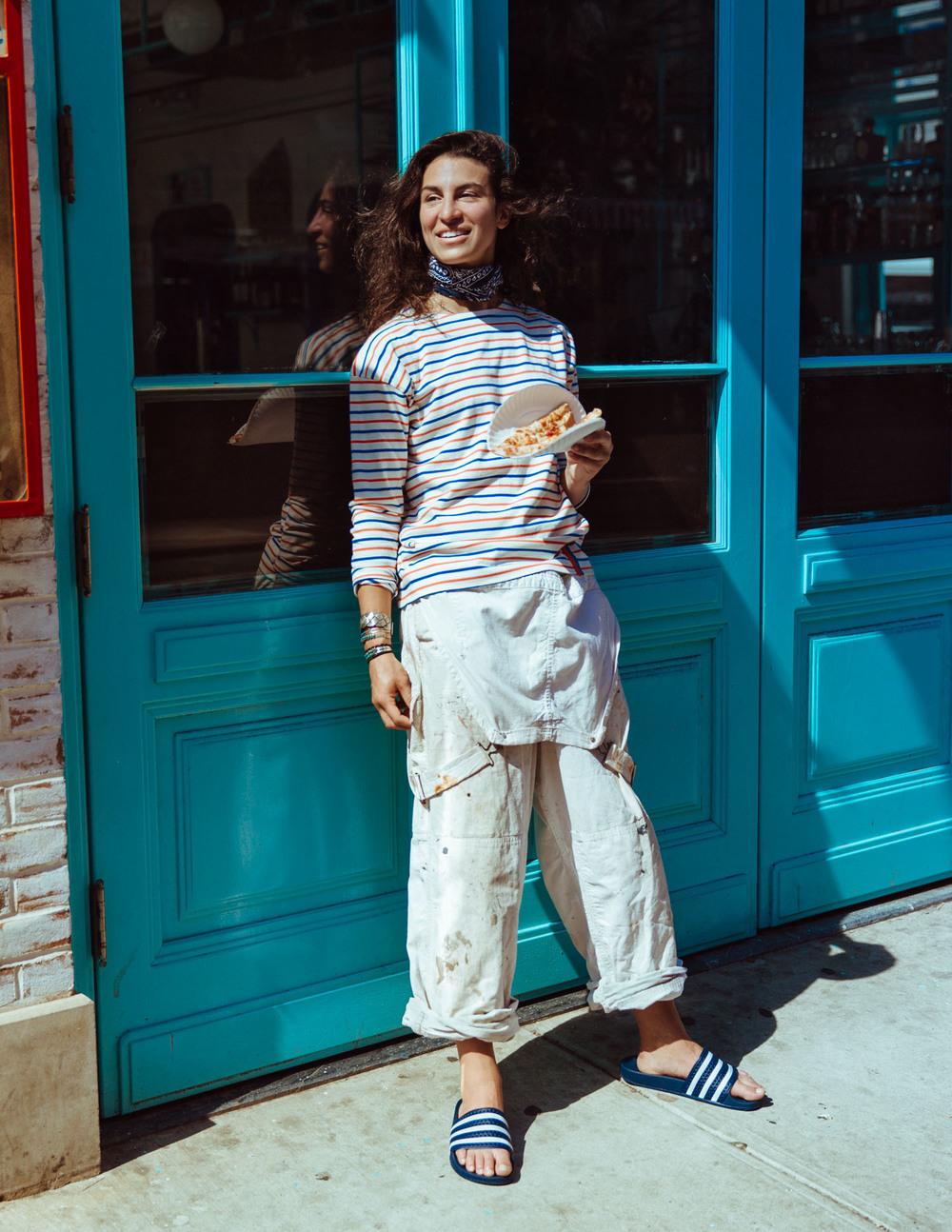 stripe shirt Kuleworkwear overalls Vintage sandals Adidas sterling silver bracelets Vintagescarf RRL