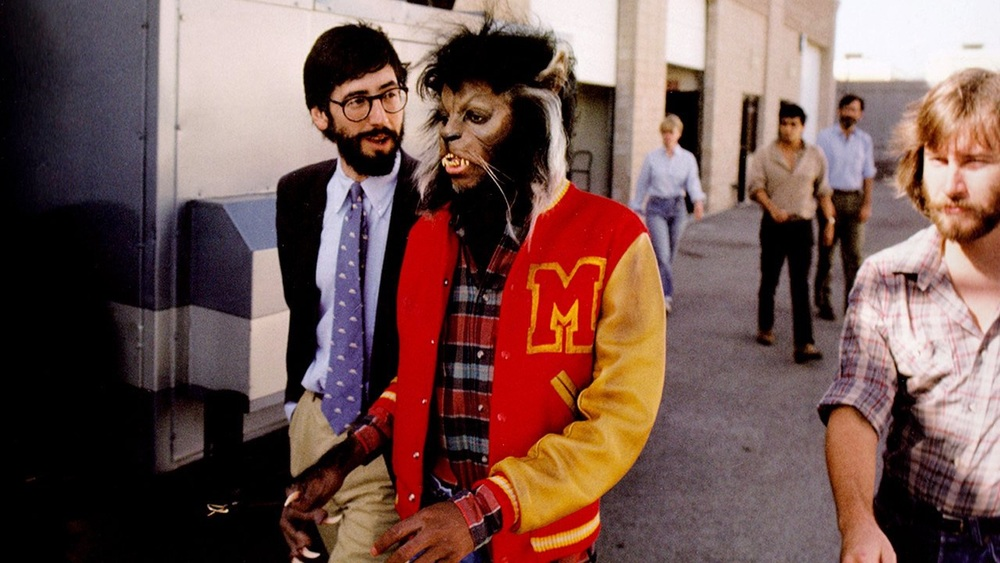 John Landis and Michael Jackson on the set of Thriller.