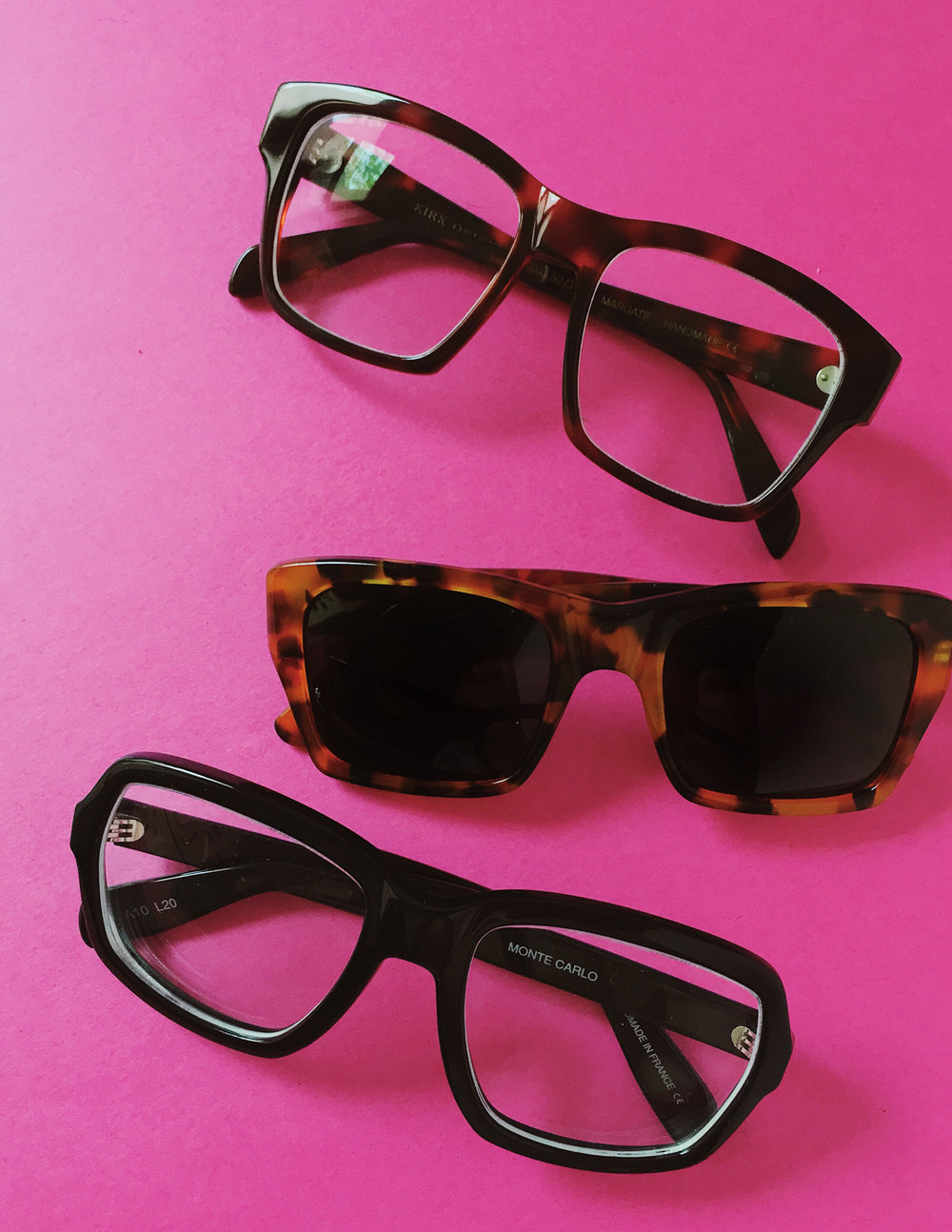 Margate optical  ($302), archival tortoise sunglass, and  Monte Carlo  optical ($262).