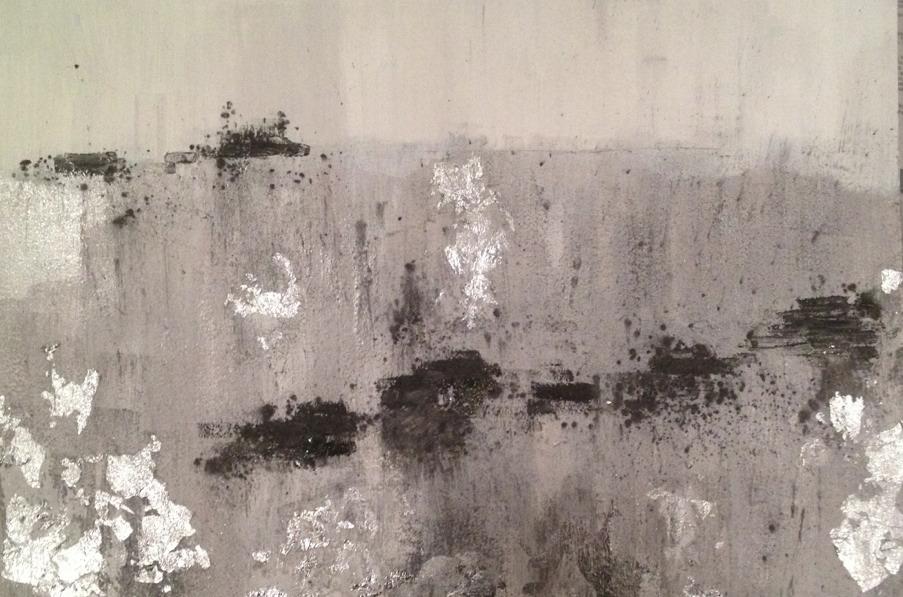 PK Landscape #3  2014  watercolor, gouache, aluminum leaf, graphite and pyrite on paper