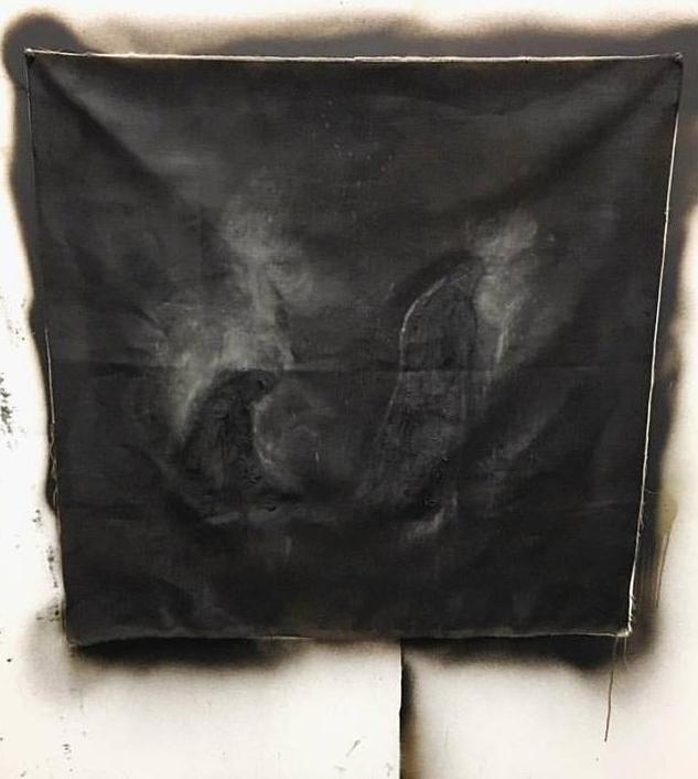 Ektaphe, or the leaving    2016    bitumen, oil, soot, graphite and pigment on linen.