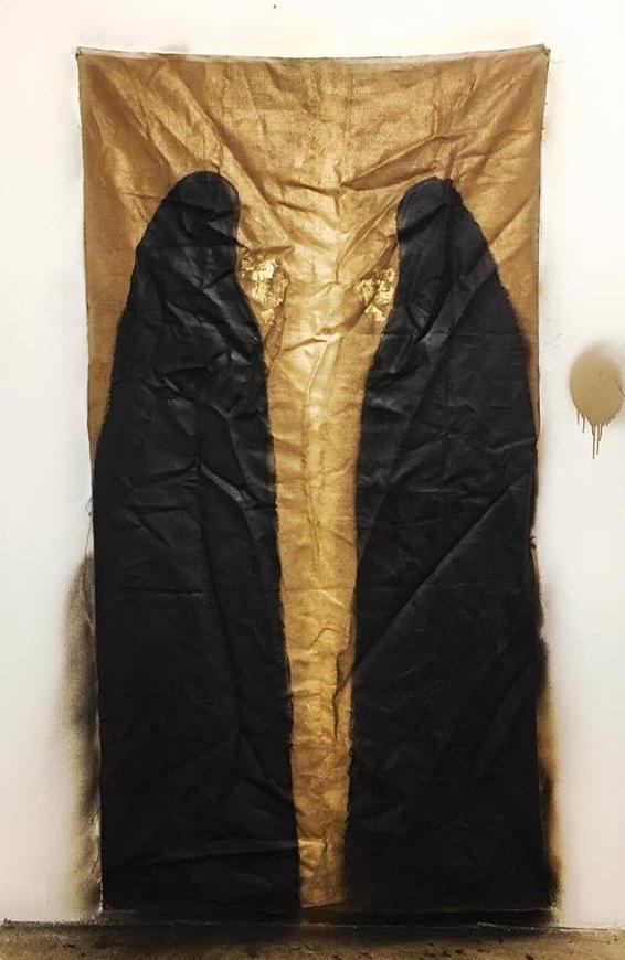 shroud    2016   bitumen, oil, spray paint, 24k gold leaf on linen