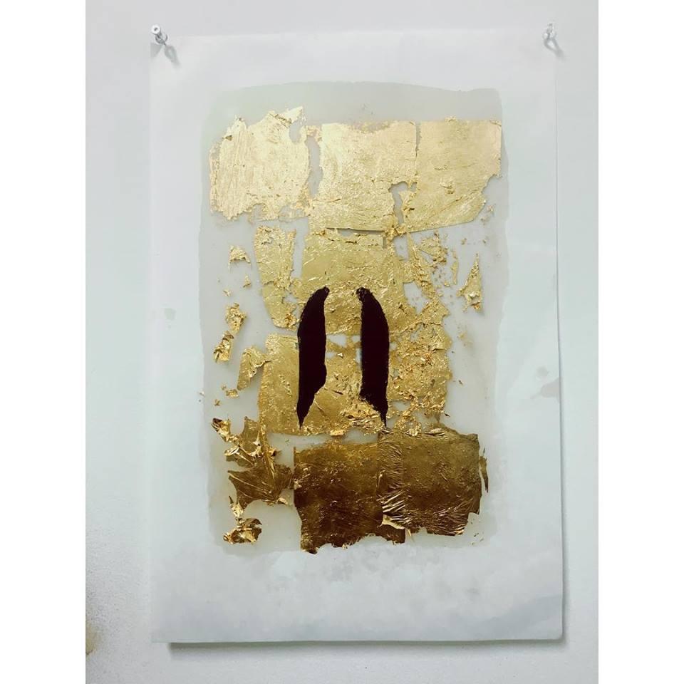 impasse  24k gold leaf, gouache on paper