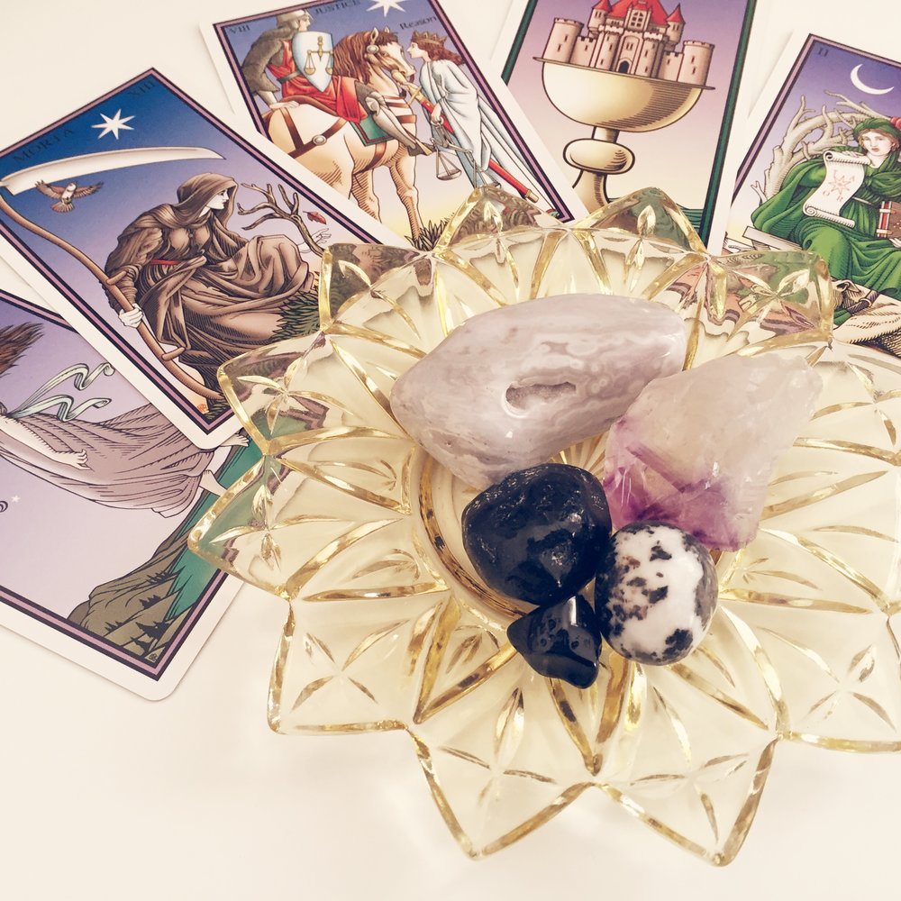 Crystals + Tarot of the Sevenfold Mystery by Robert M Place x