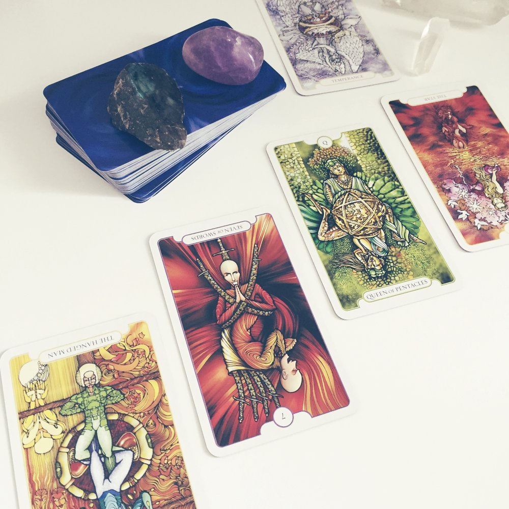 Here's one I did earlier with the Revelations Tarot. x