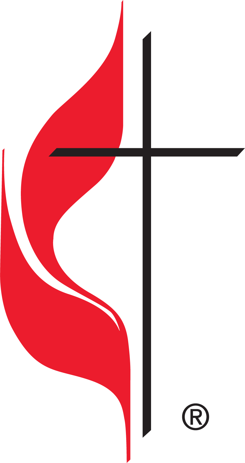 The United Methodist cross and flame.