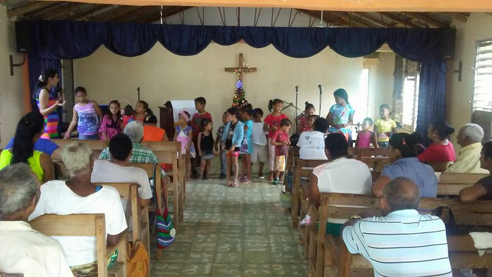 A picture from our sister church in Babujales, Cuba during a time in worship when the children come to the front.