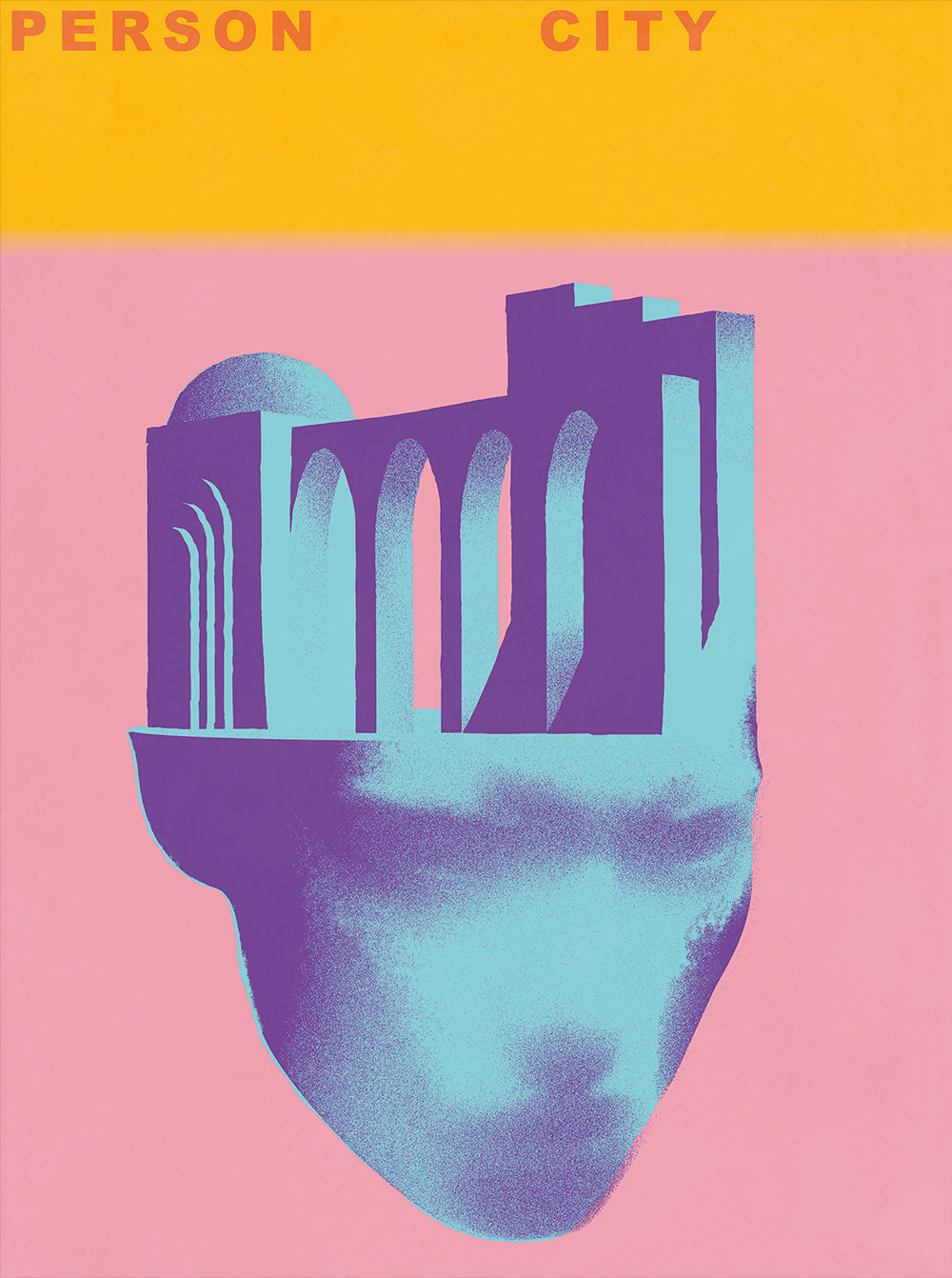"PERSON CITY // Poster for Madrid Grafica 18 - ""Person City"". Amongst 600 posters this has been one of the posters evaluated by the selection committe. It was exhibited both at ""Person City"" exhibition at ""La Nave"", and at ""Central de Diseño / Matadero Madrid"" and some spots of the city of Madrid."