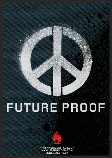 Promo image for Future Proof with the CND peace symbol featured on MassiveAttack.com back in 2003. There were also t-shirts available at the 2003 shows with the same image.