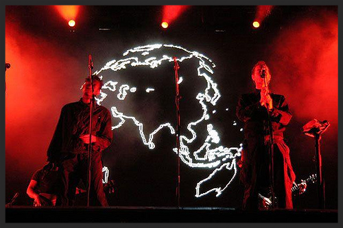 On the 2003 tour when Karmacoma was performed live, the LED screen displayed a revolving globe showing all the Massive Attack tour dates for that year.