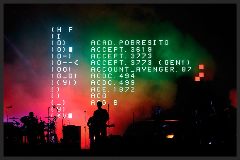 When Mezzanine was performed live on the 2003 100th Window tour, the LED screen behind Massive Attack displayed the names of various computer viruses.