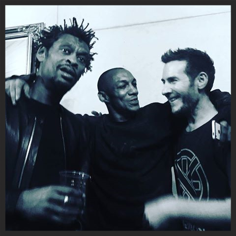 Massive Attack backstage with Tricky in Berlin in February 2016 after performing Take It There live on stage that night.
