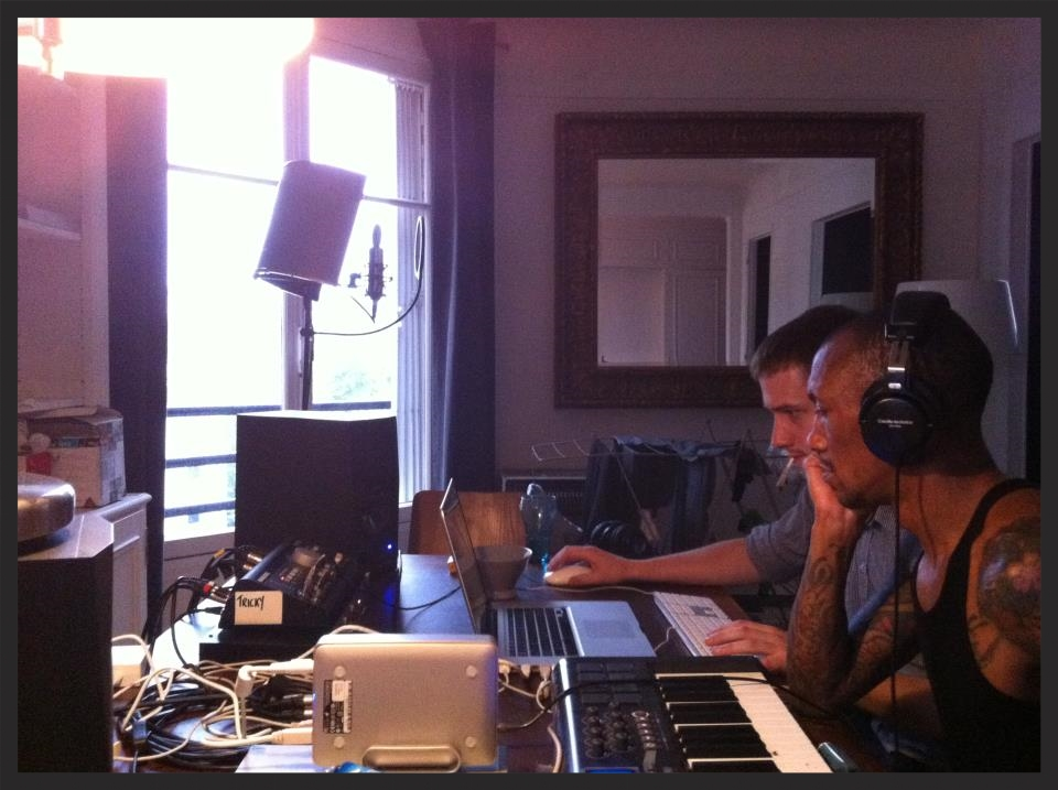 Photo of Tricky in his Paris studio working with MAssive Attack taken in June 2012, which were the sessions that Take It There originated from.