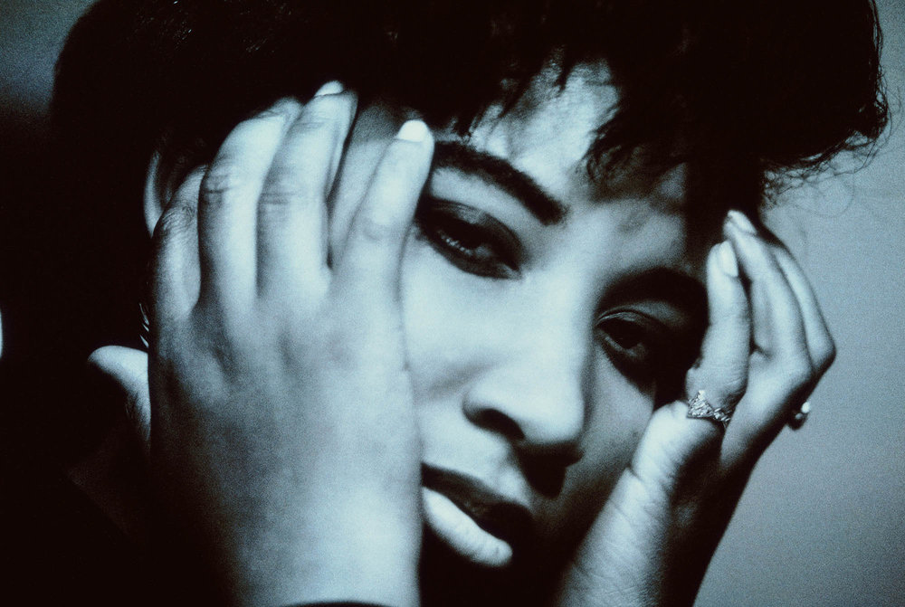 Shara Nelson in a photo still that was used on the inner sleeve of Blue Lines.