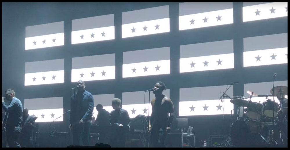 Young Fathers performing He  Says He Needs Me on Massive Attack's 2016 tour.
