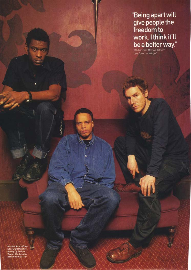 Photo taken from the January 1999 issue of Q Magazine, where Massive Attack were interviewed about their fractious relationship whilst recording Mezzanine.