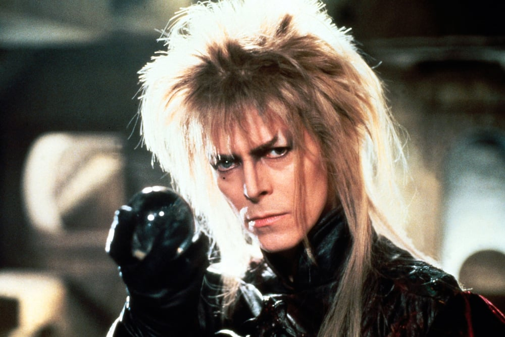 "Music icon David Bowie portrays goblin king Jareth in a scene from the 1986 fantasy film ""Labyrinth."" A special screening of the film will be held Jan. 16 at SteelStacks in Bethlehem.  (Courtesy Photo)"