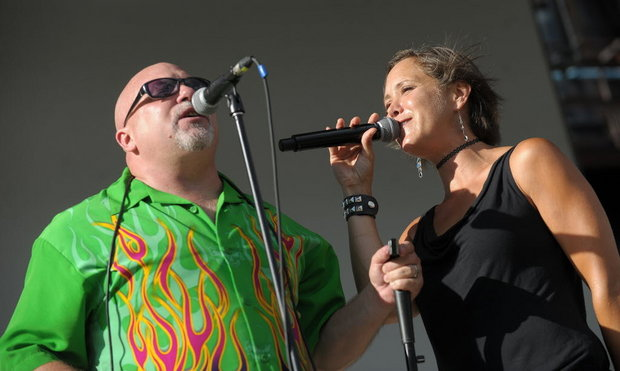 Singer-harmonica player James Supra, left, and singer Sarah Ayers are among the artists scheduled to perform during a tribute to Davie Bowie and Glenn Frey in Allentown.  (LehighValleyLive.com Photo | MATT SMITH)