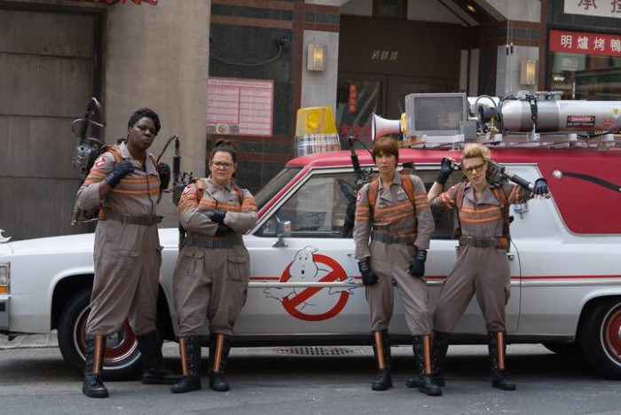 "From left: Leslie Jones, Melissa McCarthy, Kristen Wiig and Kat McKinnon star in director Paul Feig's ""Ghostubsters"" reboot.  (Sony Pictures Entertainment Photo)"