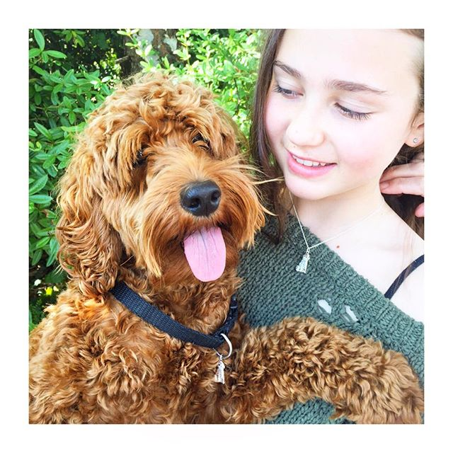 We're so excited about our new model shots of Sophie and her Cockapoo, Buddy! Both wearing pendants from our new collection. #cockapoo #pendant by #katienickelle #girlsbestfriend