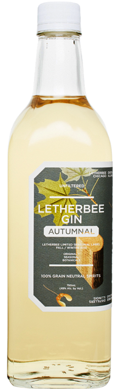Autumnal 2015 For nearly 3 years at the distillery Letherbee has been aging their Original Gin in a used Buffalo Trace Bourbon barrel.  A restrained addition of this single barrel lends to the Autumnal blend a smack of Bourbon's complexity while commanding the reigns over the Bourbon's grains. Letherbee then throws into the mix an ethereal single-origin wood-fired maple syrup from The Bunker Farm in Vermont.  The syrup's embedded terrior confidently tiptoes along the gin's coriander and cardamom, granting a warm glowing confection.  House-roasted sugar maple wood chunks camber the Bourbon's bite and the maple's sweetness as the batch is crowned by the peppery savor of allspice.