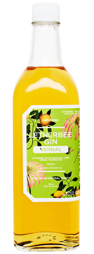 VERNAL 2016 Taking cues from Eclectic Medicine and herbal remedies, R.Franklin awakens Letherbee's 2016 Vernal Gin into a golden sunrise of chamomile and honey.  Slight sweetness is tempered by lemon and mandarin orange peel while milky grass hurls itself upward from a bed of the winter's decay.  Himalayan sea salt echos the brine of Muscadet.  It all hangs on the backbone of Echinacea root and Letherbee's Original Gin botanicals.  This batch was finished on April 29 and yields 235 cases.