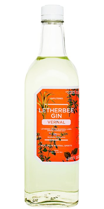VERNAL 2017 The tangy, rejuvenating flavors of Southeast Asia inspire Letherbee's 2017 Vernal Gin.  Fistfuls of freshly snapped lemongrass stalk lend the liquid a spritely green hue, and fill the flavor with a minty, citric brightness. Holy basil and raw ginger nimbly coast along each clean sip, then cascade into the mustardy galangal mid-palate. The finish plants a goodbye kiss of creamy almond, savory long pepper, and crisp lemon peel. Try your first pour neat and cold, and then team it into an elevated Gin & Tonic.  Moreover, mix it with some orgeat and OJ for a spruced up Mai Tai, or take your Bloody Mary game to the next level.  Bringing fragrance and lightness, this refreshing spirit is just right for warm nights. The 2017 Vernal Gin is bottled at 96 proof for a limited run of 3240 bottles.
